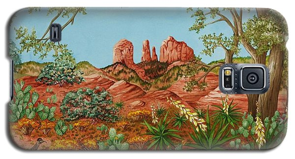 Galaxy S5 Case featuring the painting Landscapes Desert Red Rocks Of Sedona Arizona by Katherine Young-Beck