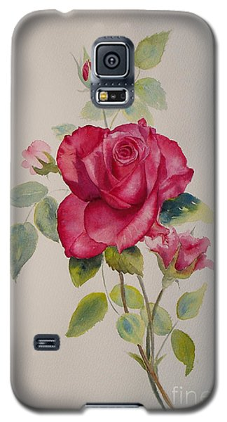 Galaxy S5 Case featuring the painting Red Rose by Beatrice Cloake