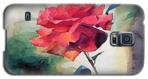 Watercolor Of A Single Red Rose On A Branch Galaxy S5 Case