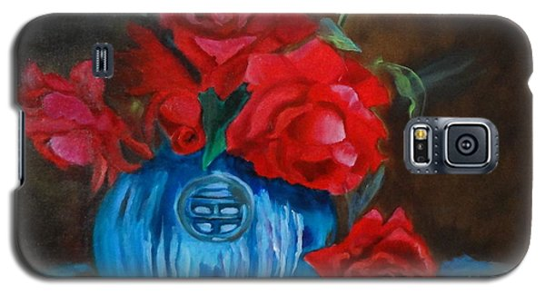 Red Roses And Blue Vase Galaxy S5 Case
