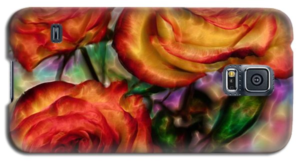 Galaxy S5 Case featuring the digital art Red Roses In Water - Silk Edition by Lilia D