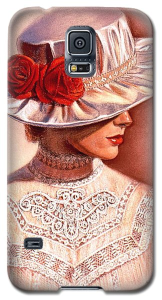 Galaxy S5 Case featuring the painting Red Roses Satin Hat by Sue Halstenberg