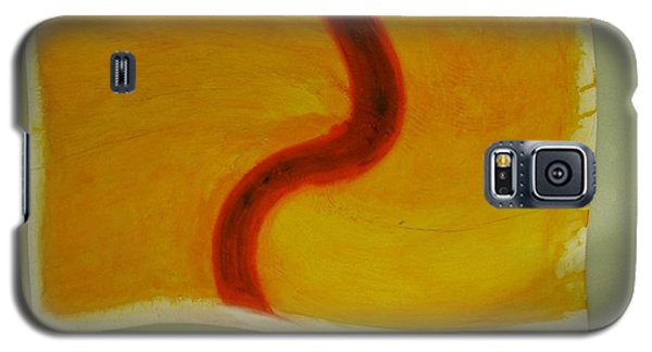 Galaxy S5 Case featuring the digital art Red S On Yellow by Phoenix De Vries