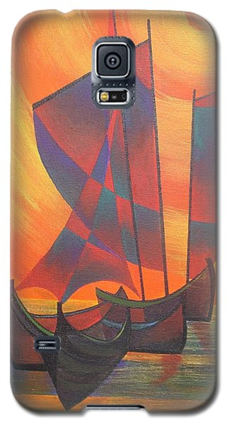 Galaxy S5 Case featuring the painting Red Sails In The Sunset by Tracey Harrington-Simpson