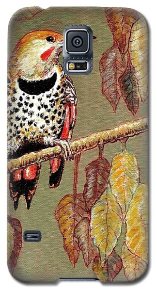 Galaxy S5 Case featuring the painting Red Shafted Flicker by VLee Watson