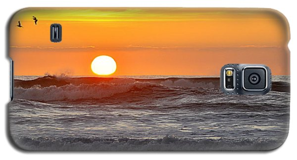 Galaxy S5 Case featuring the photograph Red Sky At Night Sailors  Delight by AJ  Schibig
