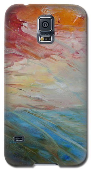 Galaxy S5 Case featuring the painting Red Sky by Sandra Nardone