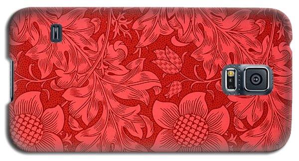 Red Sunflower Wallpaper Design, 1879 Galaxy S5 Case by William Morris