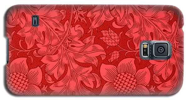 Galaxy S5 Case - Red Sunflower Wallpaper Design, 1879 by William Morris