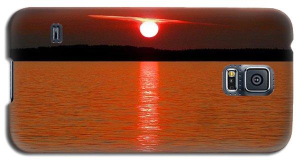 Galaxy S5 Case featuring the photograph Red Sunset Over Bellingham Bay by Karen Molenaar Terrell
