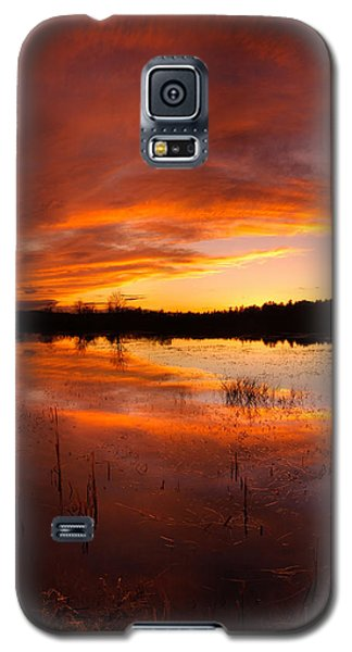Galaxy S5 Case featuring the photograph Red Sunset Over Massabesic Lake by Sebastien Coursol