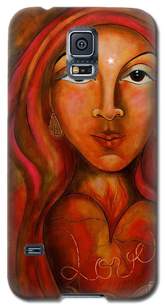 Galaxy S5 Case featuring the painting Red Thread Madonna by Deborha Kerr