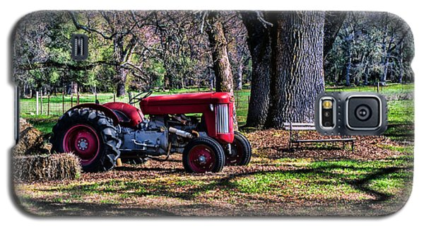 Galaxy S5 Case featuring the photograph Red Tractor On The Farm by William Havle