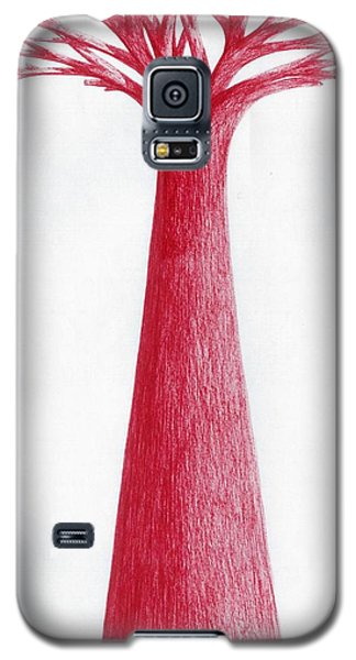 Galaxy S5 Case featuring the drawing Red Tree by Giuseppe Epifani