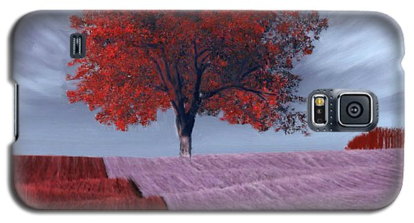 Galaxy S5 Case featuring the painting Red Tree In A Field by Bruce Nutting