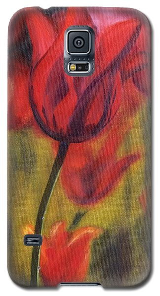 Galaxy S5 Case featuring the painting Red Tulips by Donna Tuten