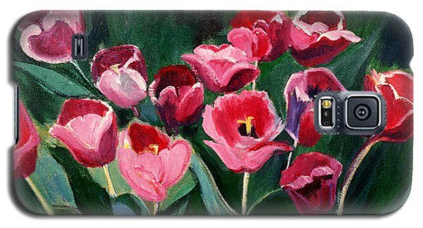 Galaxy S5 Case featuring the painting Red Tulips In A Baker's Dozen by Betty Pieper