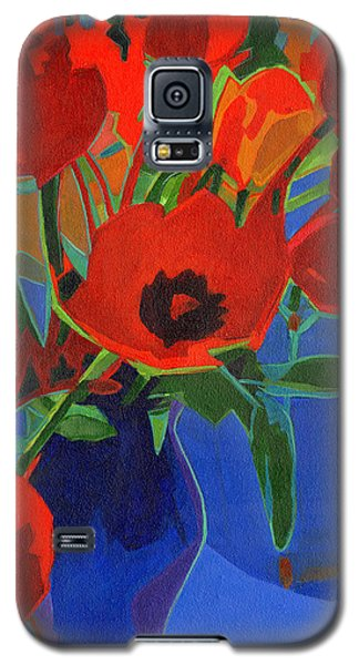 Red Tulips On Blue  Galaxy S5 Case