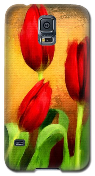 Red Tulips Triptych Section 2 Galaxy S5 Case by Lourry Legarde
