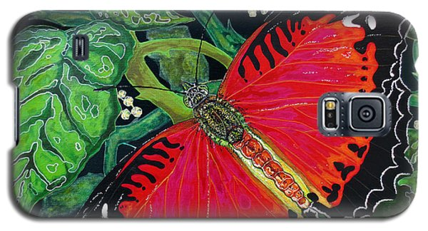 Galaxy S5 Case featuring the painting Red Butterfly by Debbie Chamberlin