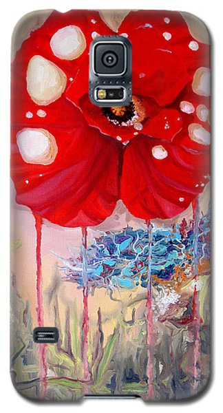 Galaxy S5 Case featuring the painting Red Weed Red Poppy by Daniel Janda