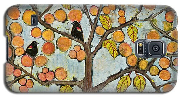 Blackbird Galaxy S5 Case - Red Winged Black Birds In A Tree by Blenda Studio