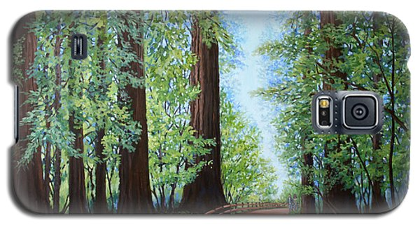 Galaxy S5 Case featuring the painting Redwood Forest Path by Penny Birch-Williams