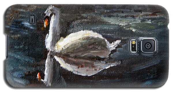 Galaxy S5 Case featuring the painting Reflecting Swan by Michael Helfen