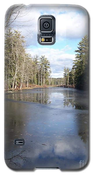 Galaxy S5 Case featuring the photograph Reflections Caught On Ice At A Pretty Lake In New Hampshire by Eunice Miller