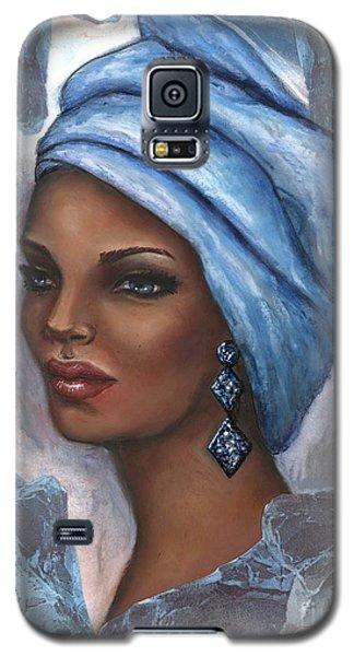 Galaxy S5 Case featuring the mixed media Regal Lady In Blue by Alga Washington