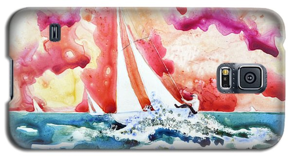 Galaxy S5 Case featuring the painting Regatta by Joan Hartenstein