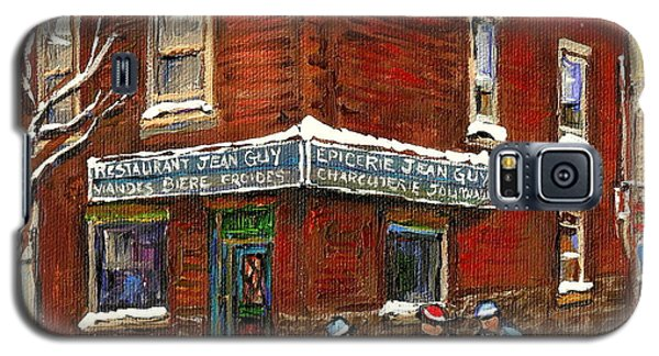 Restaurant Epicerie Jean Guy Pointe St. Charles Montreal Art Verdun Winter Scenes Hockey Paintings   Galaxy S5 Case