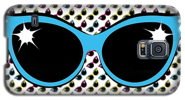 Retro Blue Cat Sunglasses Galaxy S5 Case