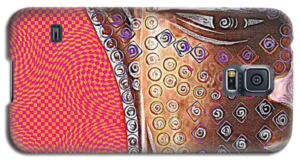 Galaxy S5 Case featuring the mixed media Retro Buddha by Julie  Hoyle