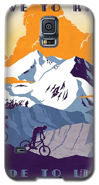 retro cycling poster Live to Ride Ride to Live  Galaxy S5 Case