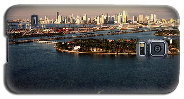 Galaxy S5 Case featuring the photograph Retro Style Miami Skyline Sunrise And Biscayne Bay by Gary Dean Mercer Clark