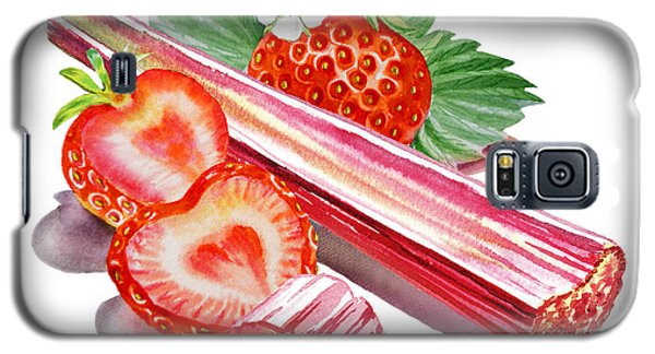 Galaxy S5 Case featuring the painting Rhubarb Strawberry by Irina Sztukowski
