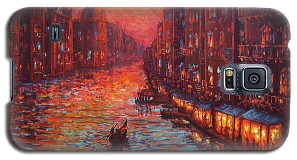 Galaxy S5 Case featuring the painting Ride On The Grand Canal Venice by Cheryl Del Toro