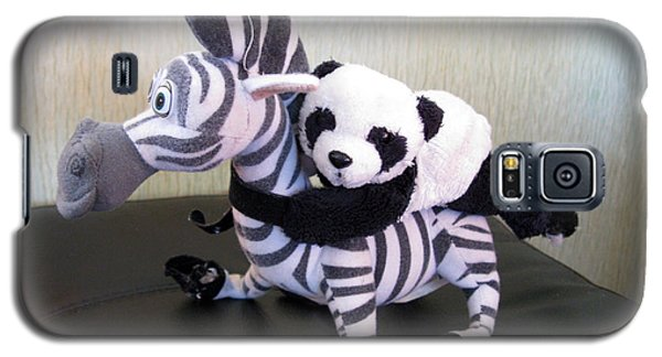 Galaxy S5 Case featuring the photograph Riding A Zebra.traveling Pandas Series by Ausra Huntington nee Paulauskaite