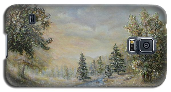 Galaxy S5 Case featuring the painting Rising Mist In The Berkshires In Ma by  Luczay