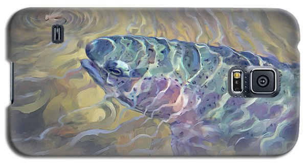 Galaxy S5 Case featuring the painting  Rainbow Rising by Rob Corsetti