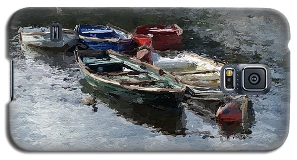 Galaxy S5 Case featuring the painting River Boats by Wayne Pascall