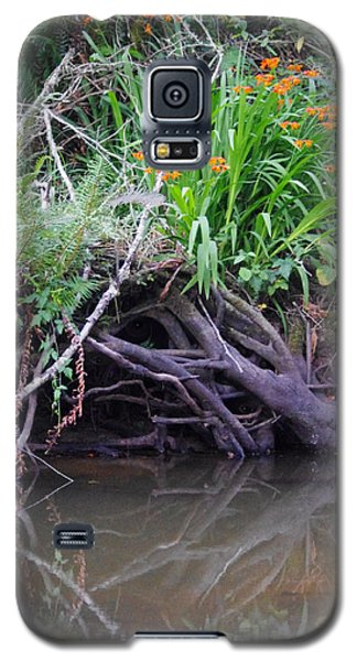 Galaxy S5 Case featuring the photograph Riverbank Has Eyes by Adria Trail