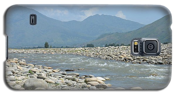 Riverbank Water Rocks Mountains And A Horseman Swat Valley Pakistan Galaxy S5 Case