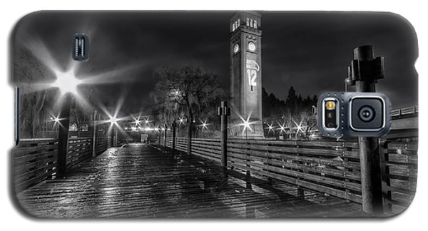 Riverfront Park Clocktower Seahawks Black And White Galaxy S5 Case