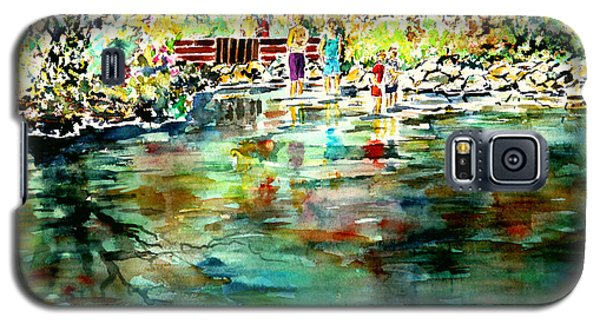 Galaxy S5 Case featuring the painting Riverside Delight by Alfred Motzer