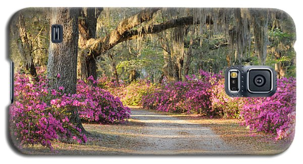 Galaxy S5 Case featuring the photograph Road With Live Oaks And Azaleas by Bradford Martin