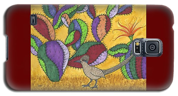 Roadrunner And Prickly Pear Cactus Galaxy S5 Case by Susie Weber