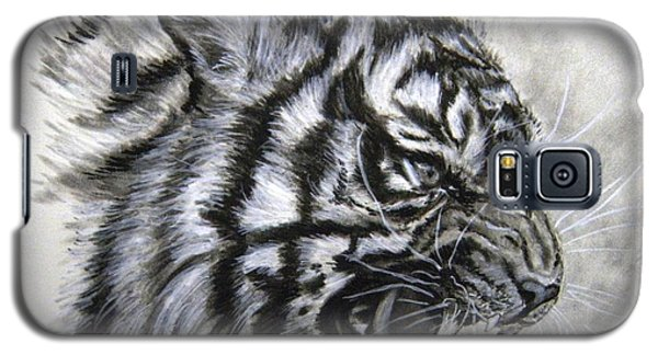Galaxy S5 Case featuring the drawing Roaring Tiger by Lori Ippolito
