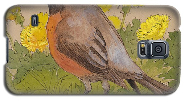 Robin In The Dandelions Galaxy S5 Case by Tracie Thompson